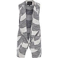 Navy geometric sleeveless jacket