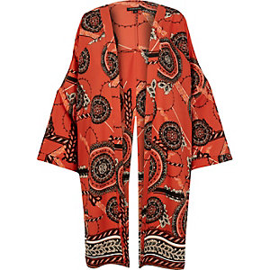 Orange print split back kimono