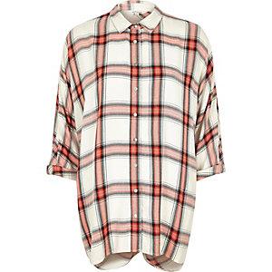 Orange check slouchy wrap back shirt