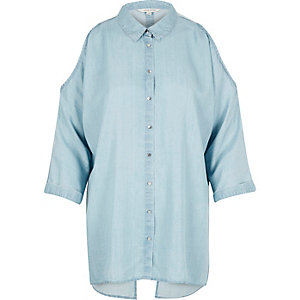 Light blue denim cold shoulder shirt