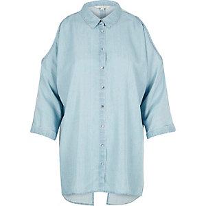 Light blue denim cold shoulder shirt