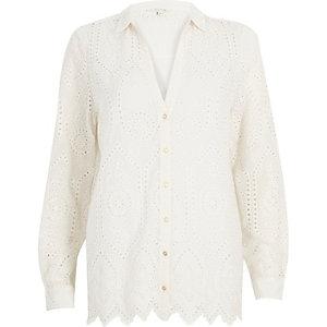 Cream embroiderey shirt