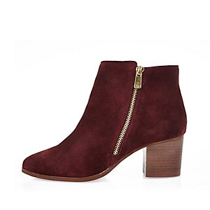 Rust red suede zip ankle boots