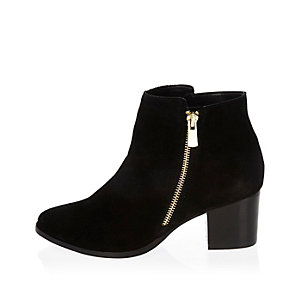 Black suede low ankle boots