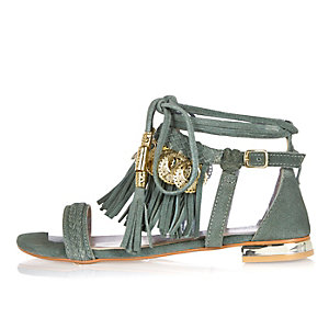 Green leather tassel coin sandals