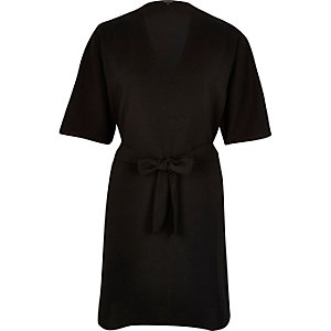 Black crepe kimono sleeve dress