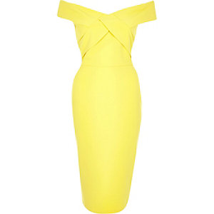 Yellow bardot bodycon midi dress
