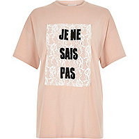 Pink lace French print oversized t-shirt