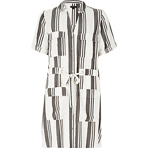 Cream stripe shirt dress