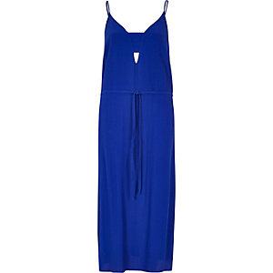 Bright blue midi slip dress