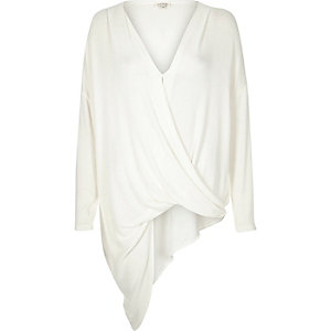 Cream knitted draped front asymmetric top