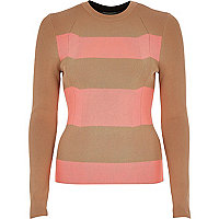 Camel stripe knitted top