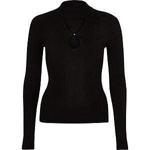 Black knitted keyhole cut-out top