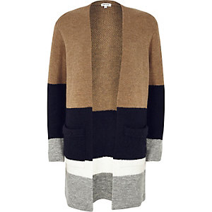 Beige color block knitted cardigan