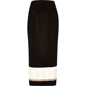 Black knitted block panel pencil skirt
