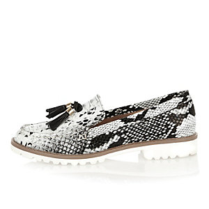 Black snake print cleated sole loafers