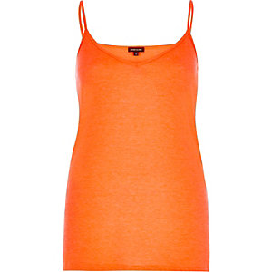 Orange ribbed tank top
