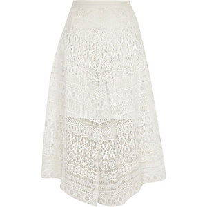 White lace hanky hem midi skirt