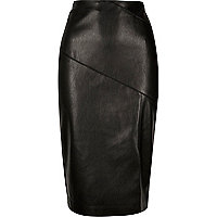 Black leather-look side split pencil skirt