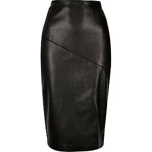 Black leather-look side split pencil skirt