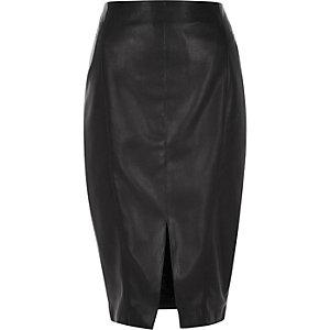 Black leather-look seamed pencil skirt