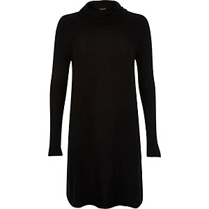 Black ribbed cowl neck swing dress