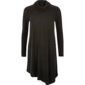 Grey cowl neck asymmetric swing dress