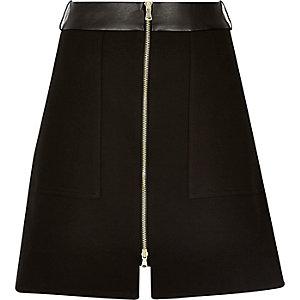 Black zip-up A-line skirt