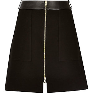 Black zip-up A-line skirt
