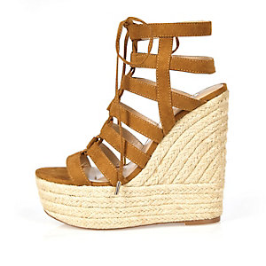 Brown suede lace up wedges