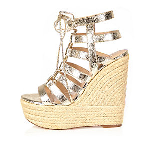 Gold lace up wedges