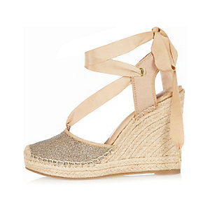 Gold lace-up espadrille wedges