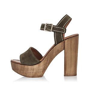 Khaki suede heeled platforms