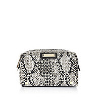 Grey snake print laser cut make up bag
