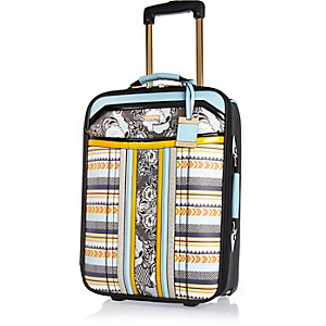 Blue printed suitcase