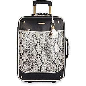 Black snake print laser cut suitcase