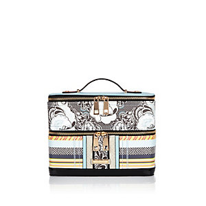 Blue stripe print vanity case