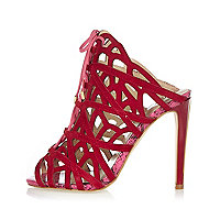 Red suede caged tie-up heels