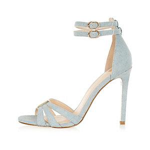 Light wash denim heels