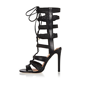 Black strappy tie-up heels