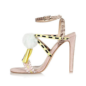Light pink suede pom pom sandals