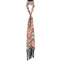 Pink long skinny tassel scarf