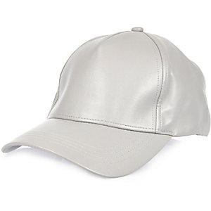 Grey leather-look cap