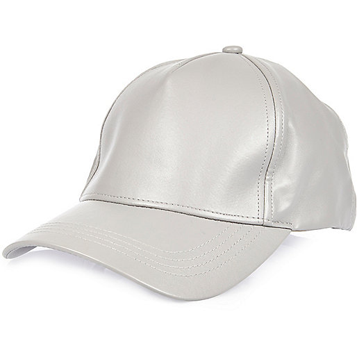 Grey leather look cap