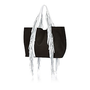 Black leather fringed tote handbag