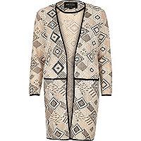 Blush pink lace overlay collarless jacket