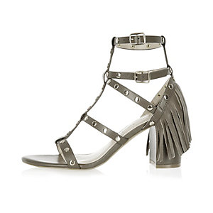 Khaki fringed strappy mid heel sandals