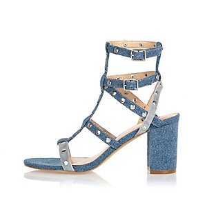 Blue denim strappy mid heel sandals
