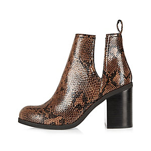 Brown snake print cut-out ankle boots