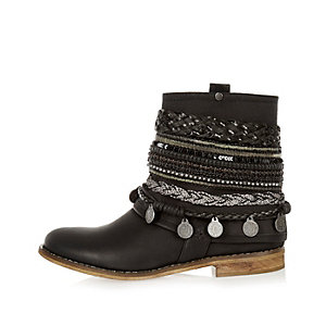 Black leather embellished ankle boots